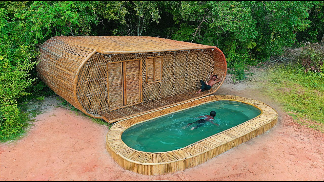 Building The Most Creative Swimming Pool in front of Luxury Villa And Decoration Private Living Room