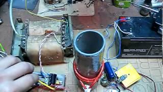 Съём энергии с катушки Tesla на мотор в нагрузке по одному проводу. Эксперимент.
