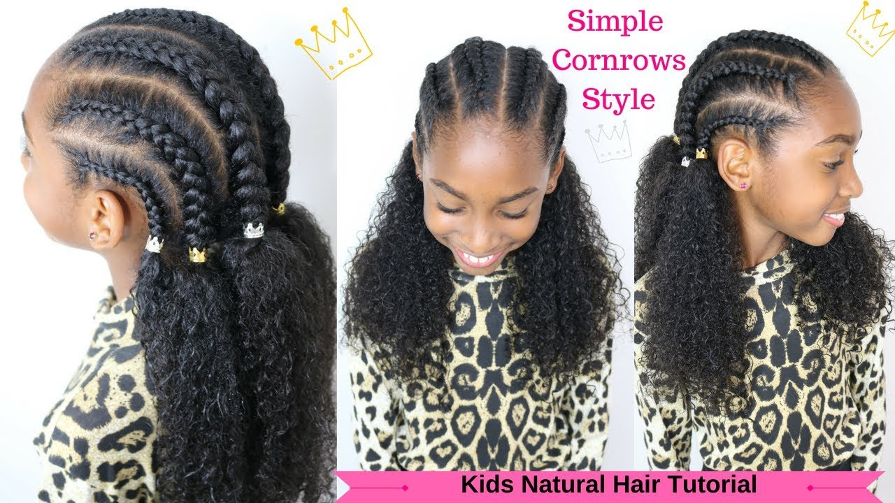 kids natural hair tutorial / quick cornrows for girls