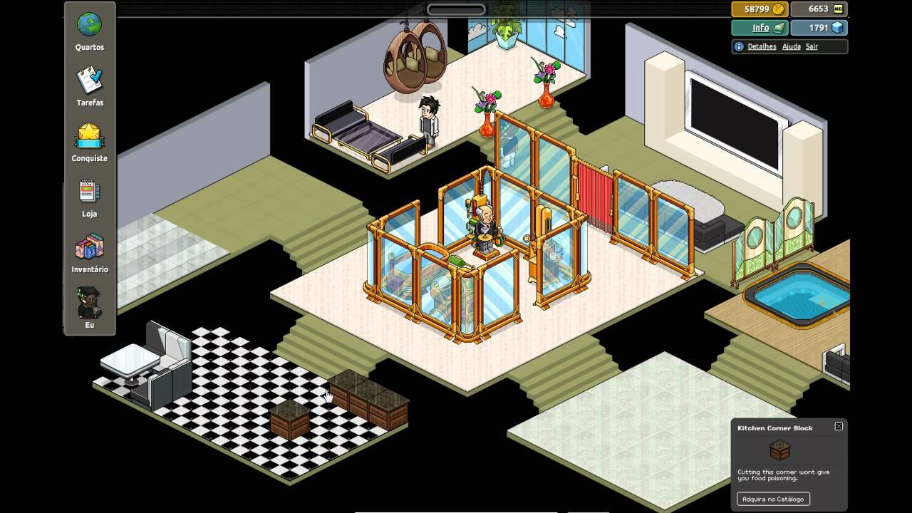 Salas De Estar No Habbo ~ Habbo  Construção Relâmpago  Casa Moderna Básica  YouTube
