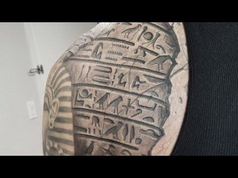 Real Time How to Tattoo /Egyptian Tattoo Sleeve by Ninja Cris Gherman aka CGTV  CGTV  CGTV