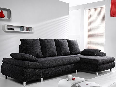 Canapé d\'angle convertible FELTON en tissu - YouTube