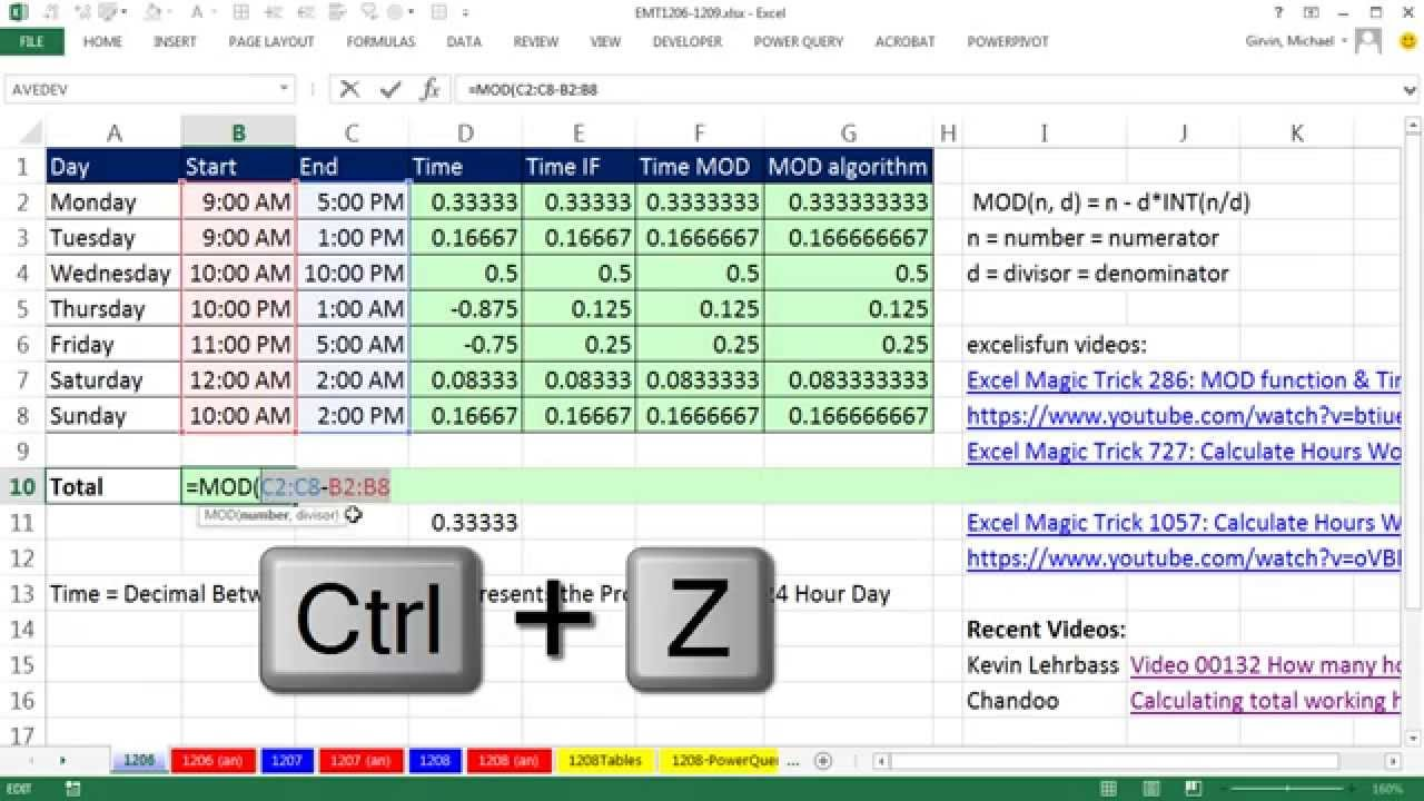 excel magic trick 1206 day night shift time calculations add