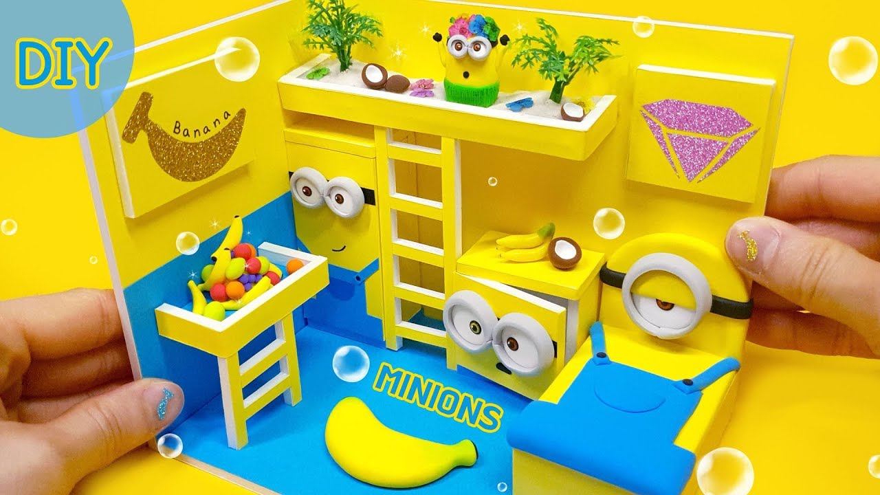 DIY Miniatre MINIONS room - minion bed , mini minion~