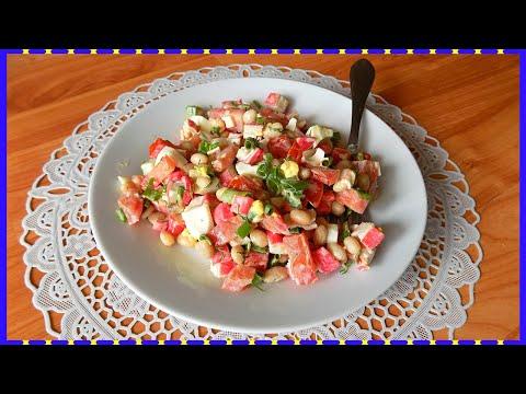 hqdefault - Салат из фасоли с крабовыми палочками и яйцами