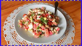 Салат из фасоли с крабовыми палочками и яйцами. Простой видео рецепт