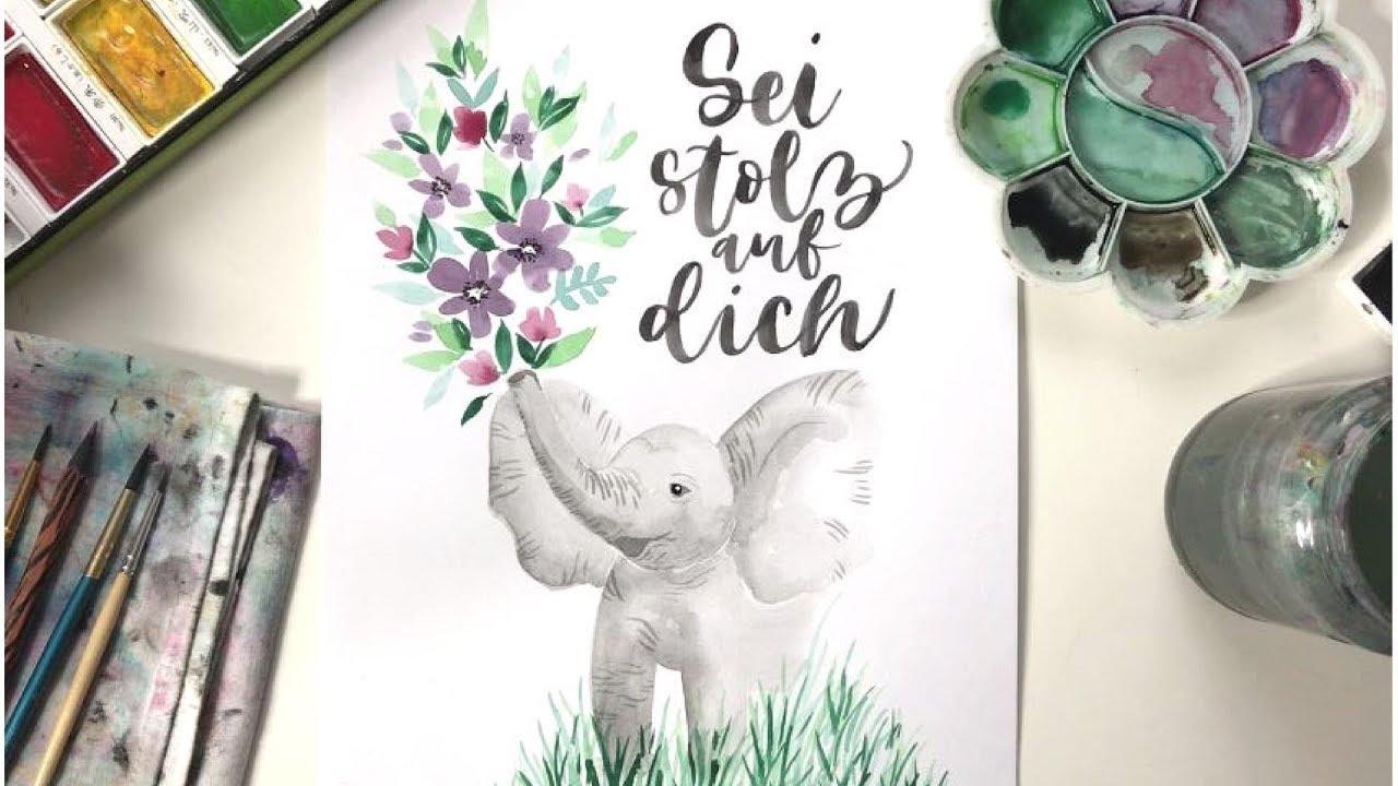 Elefant mit Blumen   WATERCOLOR & LETTERING - YouTube