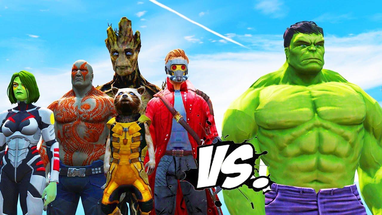 the hulk vs guardians of the galaxy star lord drax groot gamora