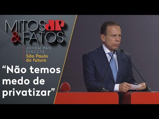 'Não temos medo de privatizar', diz Doria sobre serviços do estado de SP