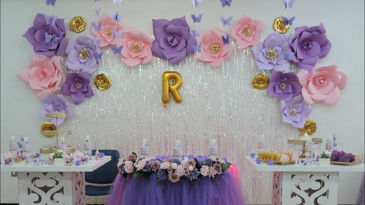 Flor gigante rosa decorando baby shower como hacer las - Plantillas para la pared ...