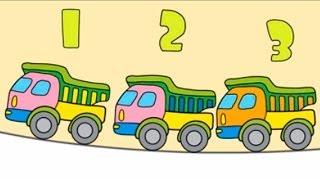Весёлые грузовички - Видео  для детей - Учим цифры
