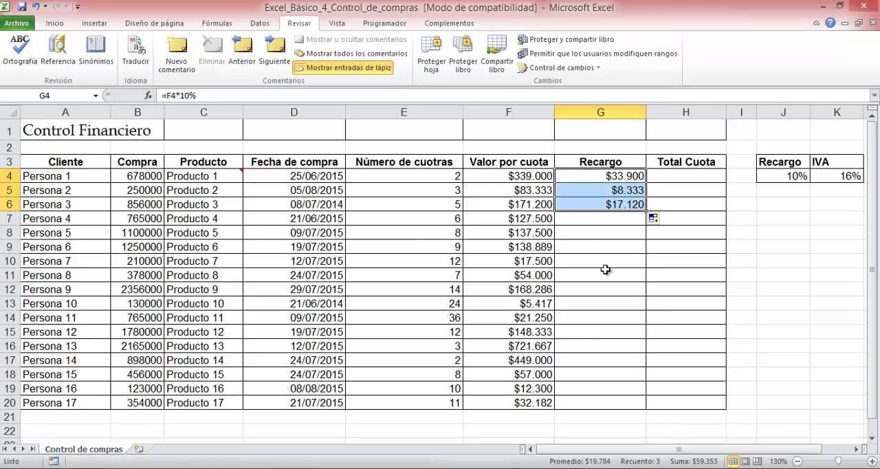 Control de compras (Excel básico 4) - YouTube