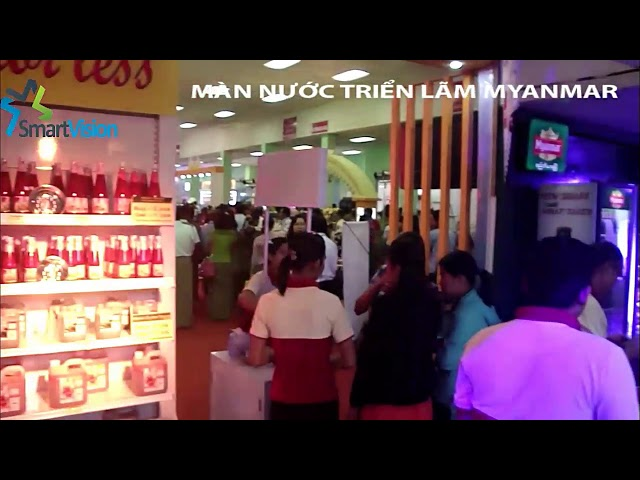 Digital water curtain with 2 meters was showed at a exhibition in Myanmar