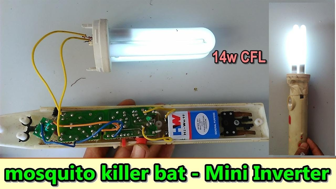 how to make small 14w inverter using mosquito killer bat circuit board and fused cfl bulb [ 1280 x 720 Pixel ]