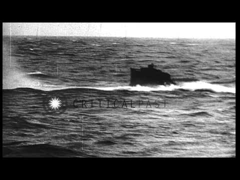 Nazi submarines being disposed of off the coast of Ireland after World War II, du...HD Stock Footage