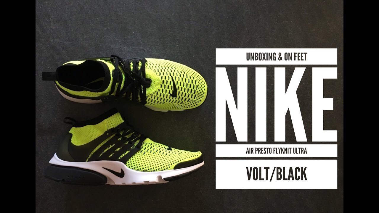 best website 645a5 cb0f1 Nike Air Presto Flyknit Ultra  Volt Black    UNBOXING   ON FEET   fashion  shoes   2016   HD