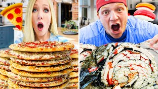 100 Layers of Pizza vs 100 Layers of Sushi Challenge ft. Unspeakable!