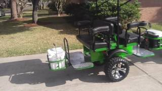 Custom Club Car Precedent golf cart with modified Limo Tag a Long