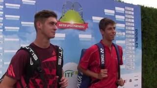 Antonín Štěpánek a Lukáš Vejvara po prvním kole deblu na turnaji Futures v Pardubicích