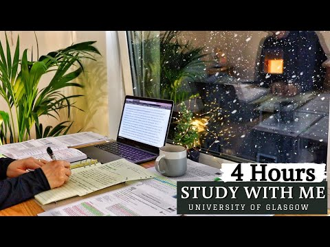 4 HOUR STUDY WITH ME | Background noise, Rain Sounds, 10-min break, No Music, Real-time
