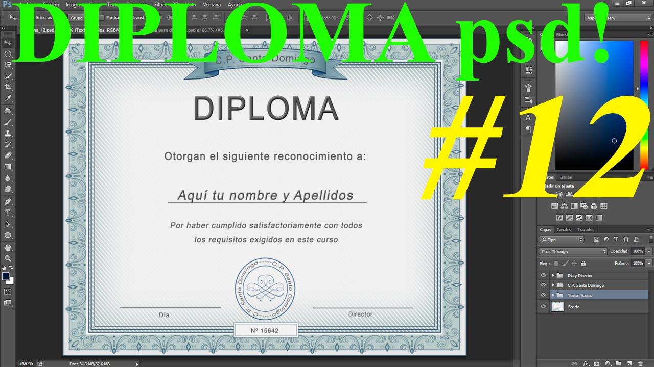 Plantilla psd para Diploma │Diseño de Calidad Profesional ...
