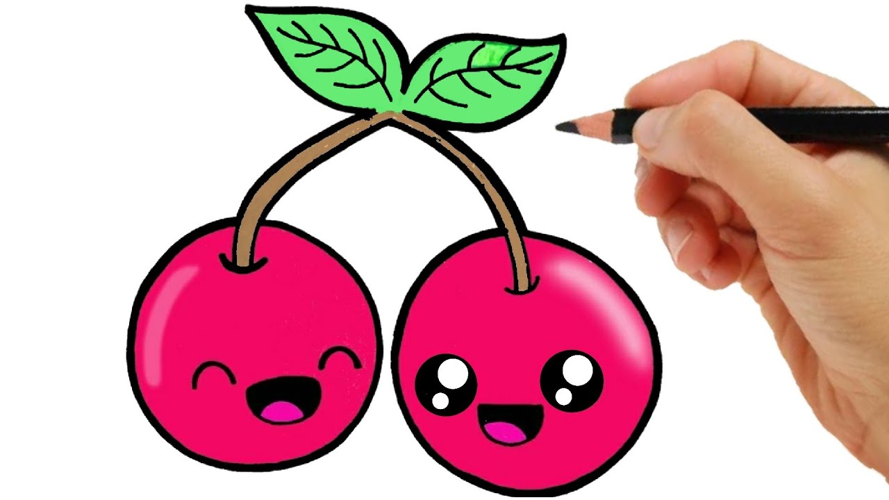 HOW TO DRAW A CHERRY EASY STEP BY STEP