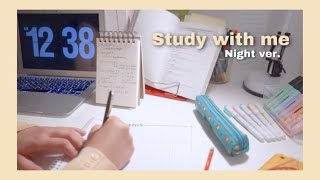 STUDY WITH ME  | 1 hour late night ver. (Quarantine, with music, real time)  | ABITUR 2020