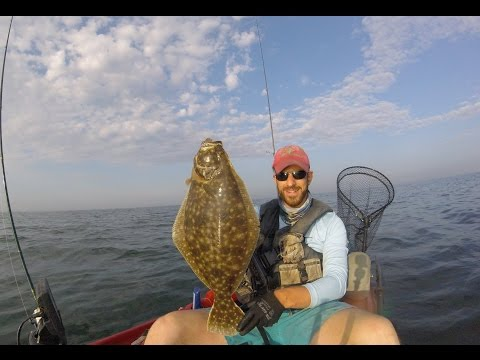 Ocean Kayak Fishing - Dusky Shark Break Off, Giant Flounder, Sea Bass Limit 7/8/2016