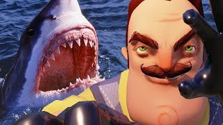 WHY DOES HE HAVE A SHARK!? - Hello Neighbor #2