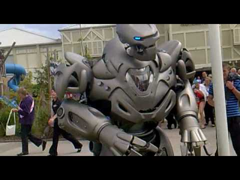 titan the robot punches drunk guy butlins bognor 2010