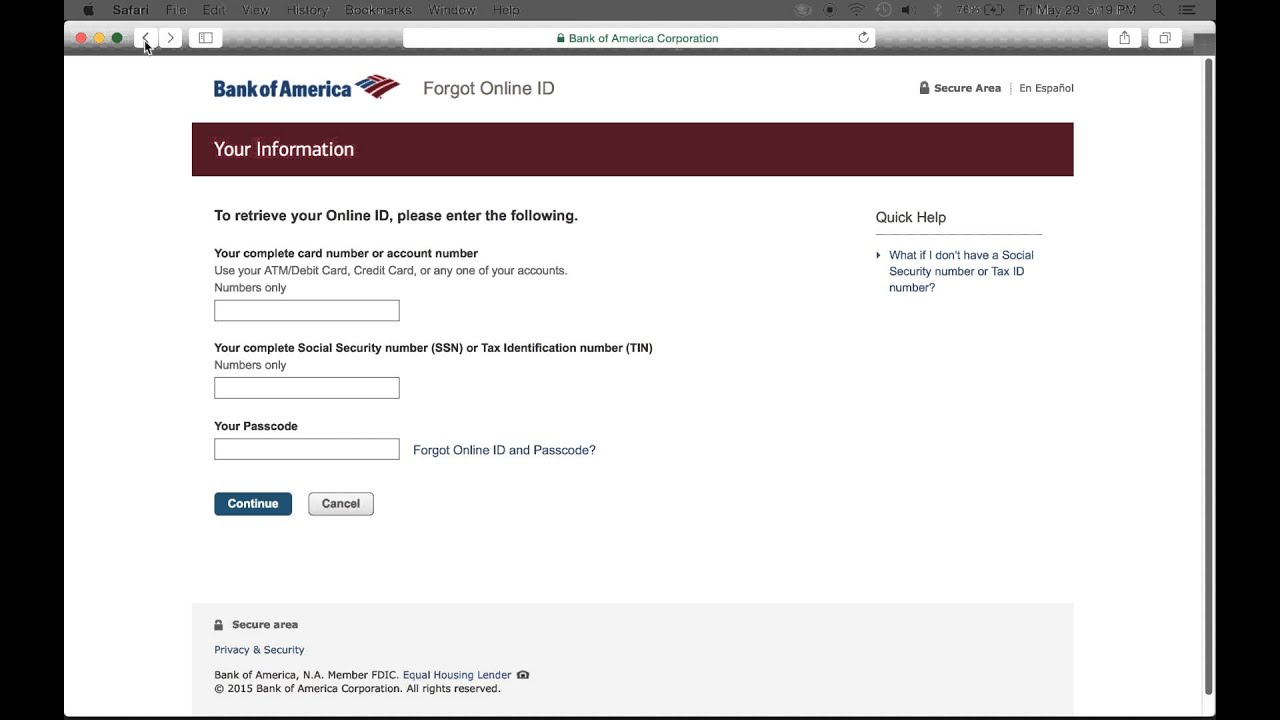 Bank Of America Online Banking Login Youtube
