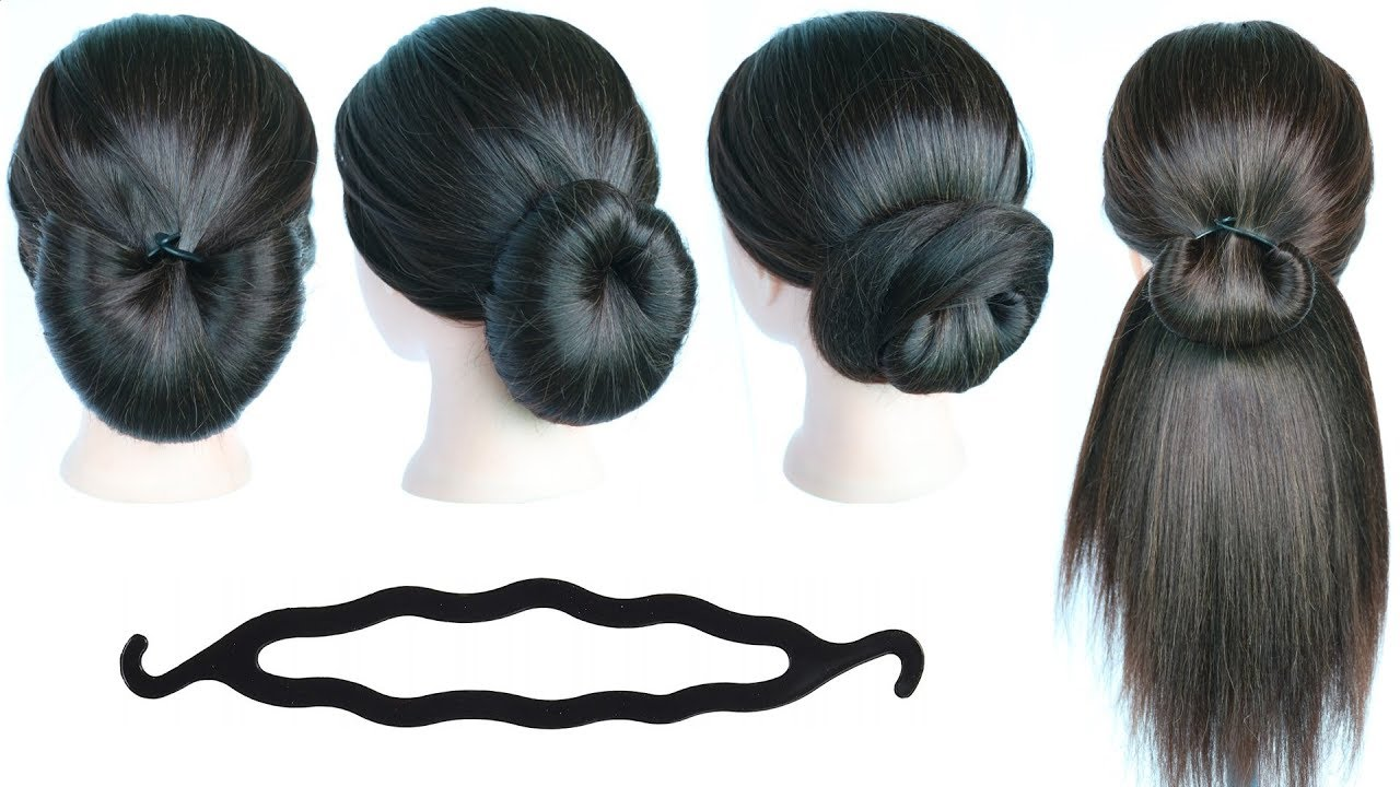5 quick & simple hairstyles with using bun maker    cute hairstyles    hair style girl    hairstyle