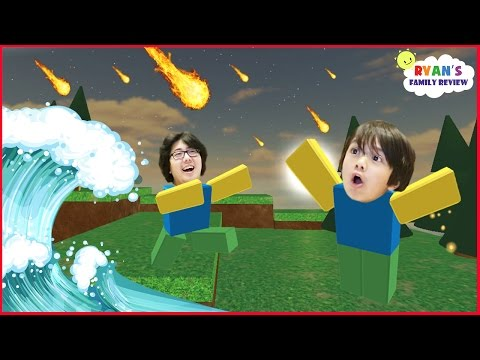 Family Game Night! Let's Play Roblox Natural Survival Disaster with Ryan's Mommy and Daddy