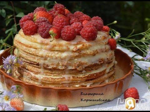 Пирог из блинов с творогом  Рецепт торта