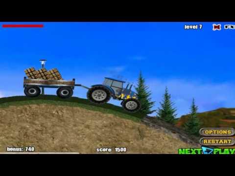 трактор с прицепом сена мультик про трактор