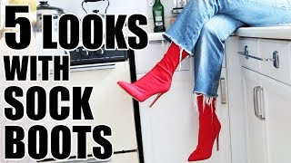 HOW TO STYLE SOCK BOOTS | OUTFIT IDEAS TO STEAL!!
