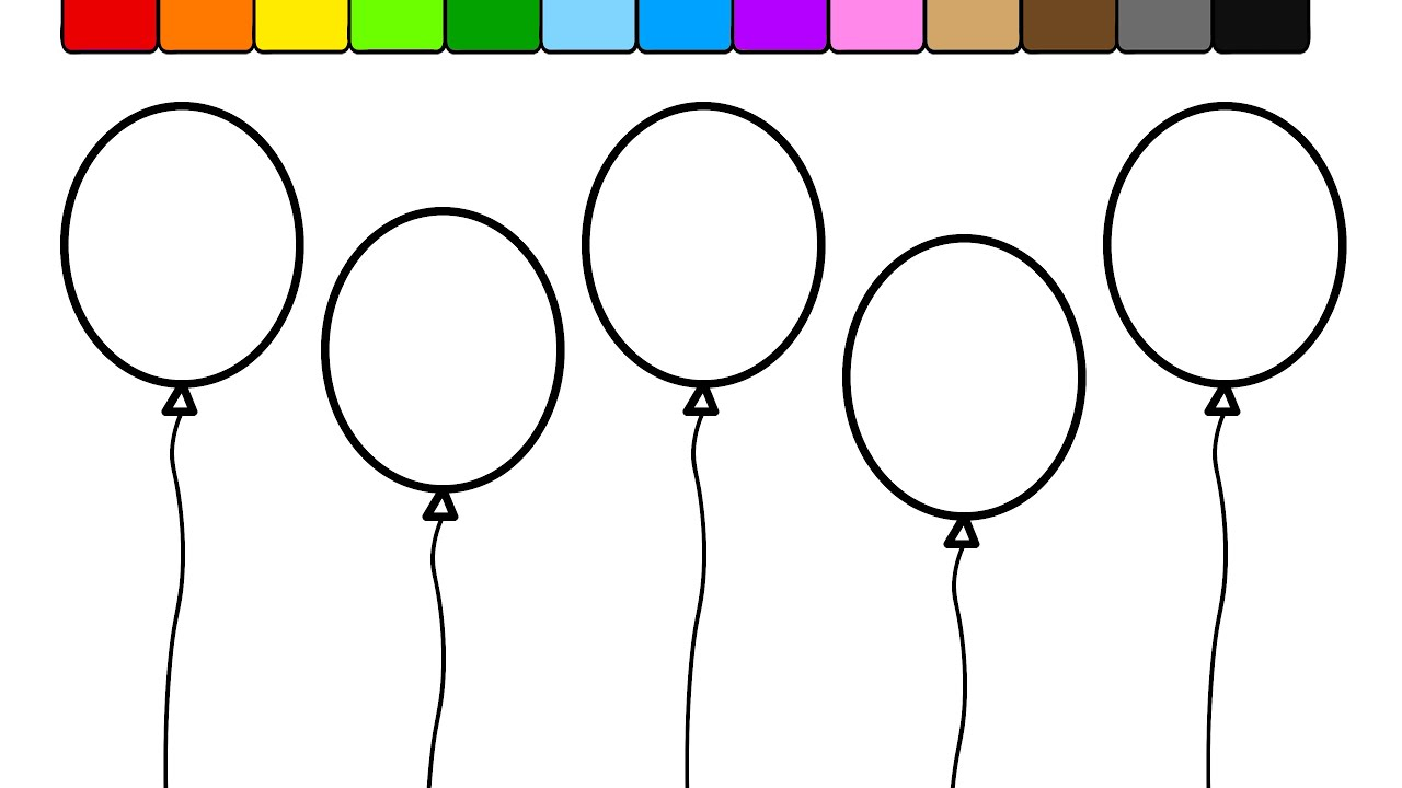 Balloon Coloring Pages Learn Colors For Kids And Color This Balloon Coloring Page 2  Youtube
