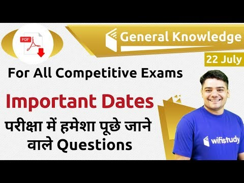 12:00 AM - GK By Sandeep Sir | Important Dates (Exam Based Questions)