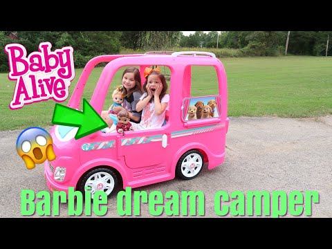 BABY ALIVE Rides The Barbie Dream Camper Power Wheels vehicle