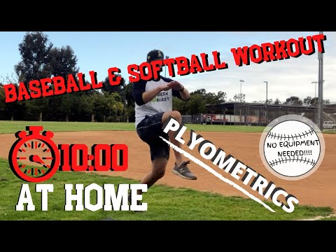 10 Minute AT HOME PLYOMETRIC [Explosive] Workout for Baseball & Softball Athletes. {Follow Along}