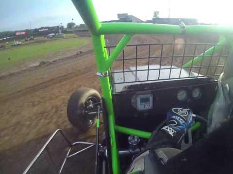 Tony Rost USAC Sprint Car Qualifying in car camera @ Cedar Lake Speedway