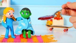 SUPERHERO BABY HAS A COLD ❤ SUPERHERO PLAY DOH CARTOONS FOR KIDS