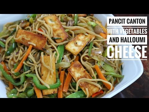 Pancit Canton with Vegetables and Halloumi Cheese