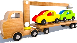 Learning Colors with Wooden Car Transporter Carrier Toys for Kids