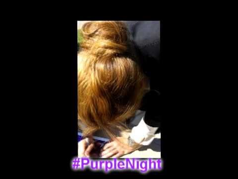 Stana Katic saying Hi to Purple Girls and signing autographs