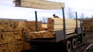 Погрузка материала(Погрузочные работы пиломатериала. Компания Брусовик44., 2015-05-28T03:45:29.000Z)