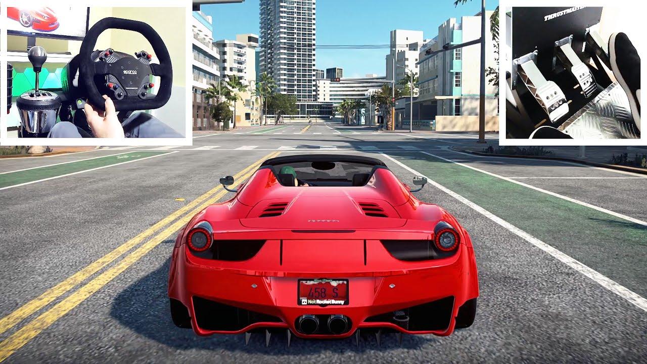 Custom Ferrari 458 Spider Steering Wheel Pedal Setup Need For Speed Heat Gameplay Youtube
