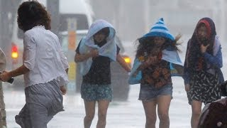 Powerful Typhoon Neoguri Strikes Okinawa, Japan: 118-mph