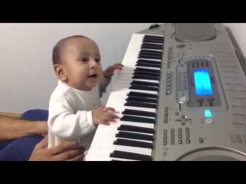 Baby playing keyboard