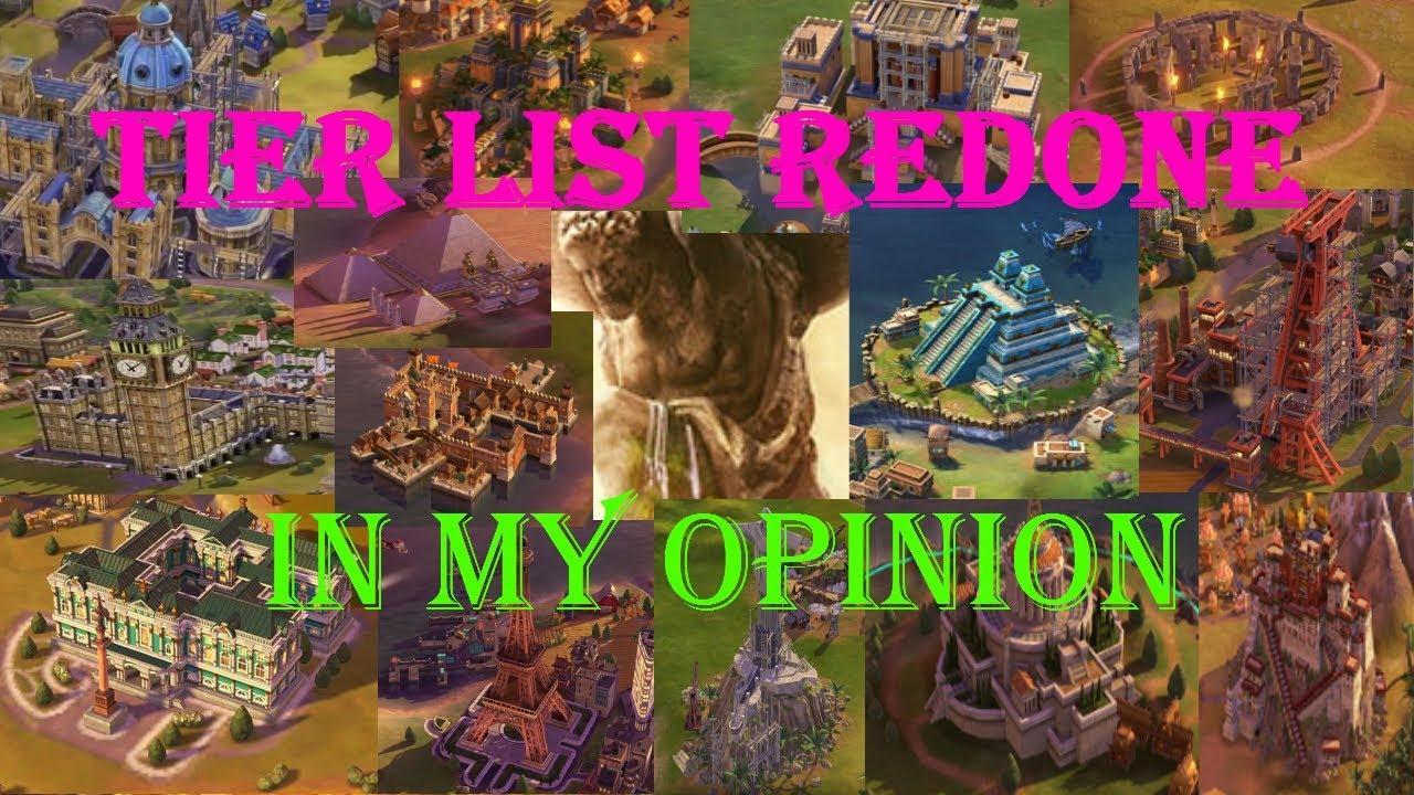Civilization VI, Tier List, Redone